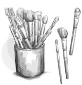 Make up brushes collection. makeup case. Fashion illustration.