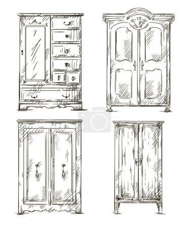 Set of hand drawn wardrobes. Interior elements. Vector illustration.