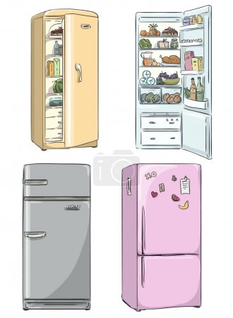 Set of four hand drawn cartoon fridges. open fridge with healthy food.