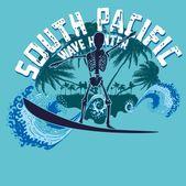 Palm beach skeleton surfer vector art