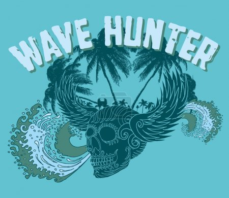 Big wave palm beach wins skull vector art