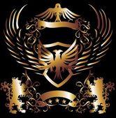 Golden frame lion and eagle vector art