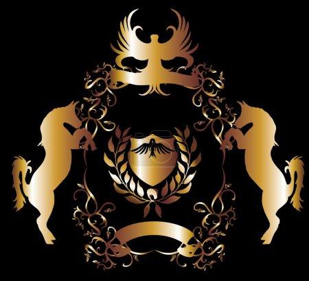Golden eagle shield vector art