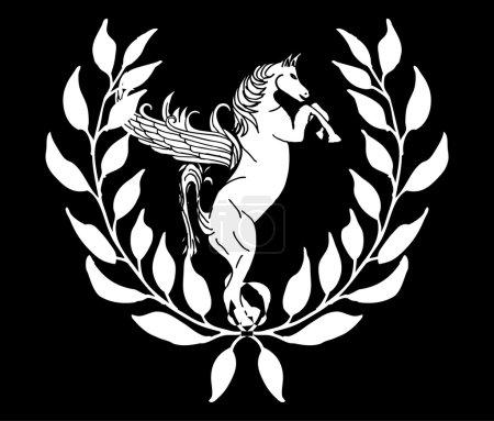 Black and white horse vector art
