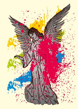 Statue wings birds and maria vector art