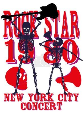 Skeleton disco music retro style vector art...