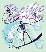 South pacific rock music skeleton surfer vector art