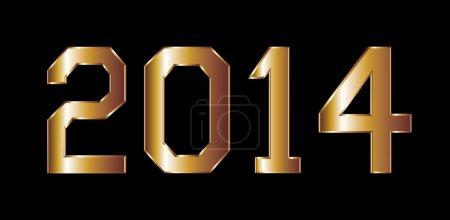 Golden horse happy new year 2014 vector art