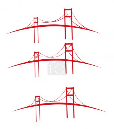 Red bridges design vector art