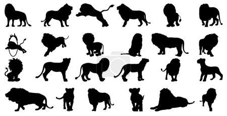 Silhouette lion vector set