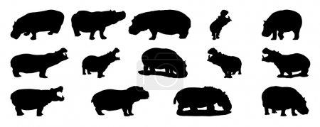Silhouette of hippopotamus vector set