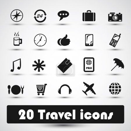 Illustration for 20 travel icon with gray - Royalty Free Image