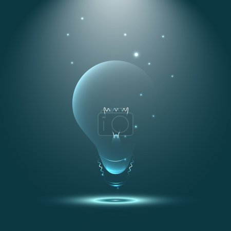 Creative inspiration and imagination of shining light bulb