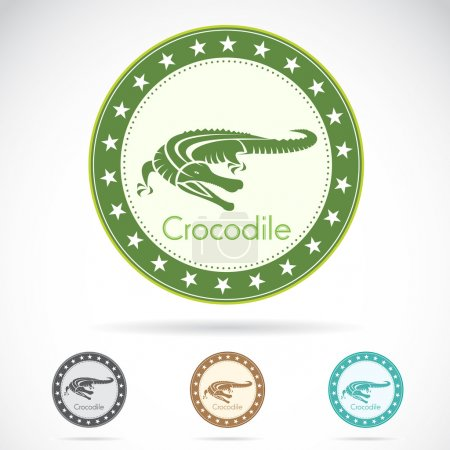 Set of vector crocodile label