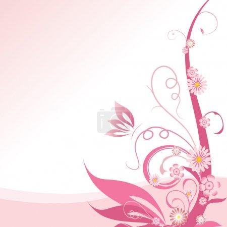 Illustration pour Coin floral rose élément design - image libre de droit