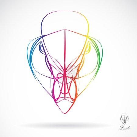 Illustration for Head of Mandarin Duck beautifully designed half - vector - Royalty Free Image