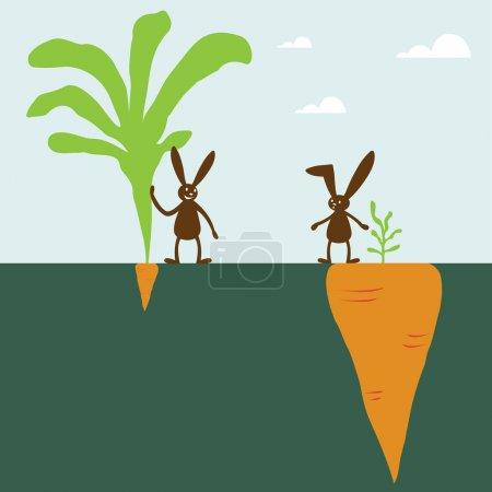 Illustration pour Lapin et carotte - image libre de droit
