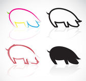 Vector image of an pigs