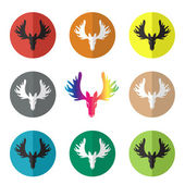 Vector group of deer head in the circle on white background