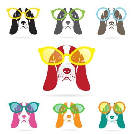 Vector images of basset hound dog wearing glasses