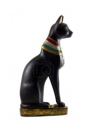 Photo pour Statette égyptienne de chat décorée avec des traditions nationales isolées - image libre de droit