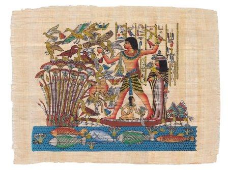 Photo pour Scène de chasse à la mythologie égyptienne peinte sur papyrus - image libre de droit