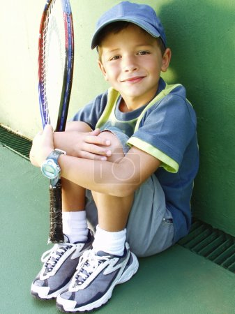 Photo for Little kid tennis portrait. - Royalty Free Image