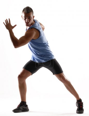 Healthy and fitness man running on white background.
