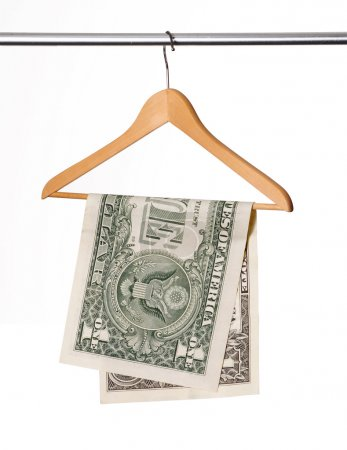 Photo for One dollar bill on clothes hanger. - Royalty Free Image