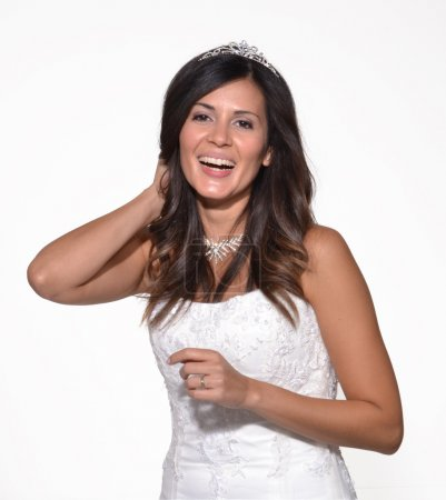 Photo for Happy bride portrait on white background - Royalty Free Image