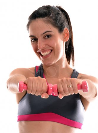 Strong woman aerobics training