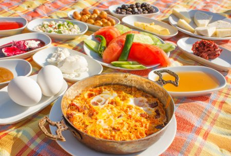 Traditional Turkish breakfast outdoor served...