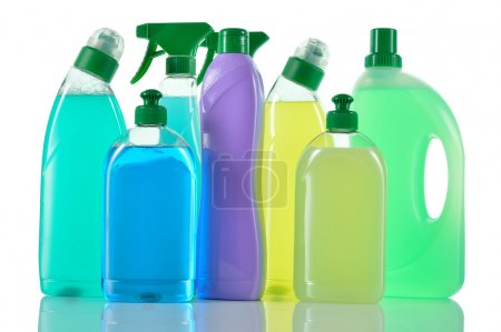 Photo for Set of cleaning products. Spray blue Cleaner, WC cleaner, washing liquid and cream cleaner isolated on white background. - Royalty Free Image