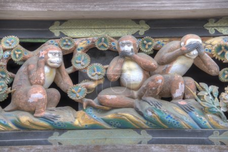 Three wise monkeys of Toshogu Shrine, Nikko, Japan. Shrines and Temples of Nikko is UNESCO World Heritage Site since 1999