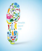Footprint of sport shoe built of healthy lifestyle elements