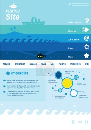Web site template with marine thematics