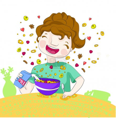 Illustration for Smiling girl prepares her flakes with fruits and milk, for the breakfast. - Royalty Free Image