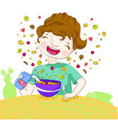 Smiling girl prepares her flakes with fruits and milk for the breakfast