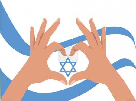 Hands and Israel flag