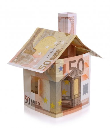 Euro house made from banknotes isolated