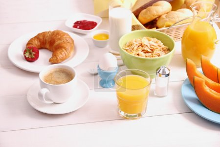 Photo for Table set for breakfast and healthy food, top view - Royalty Free Image