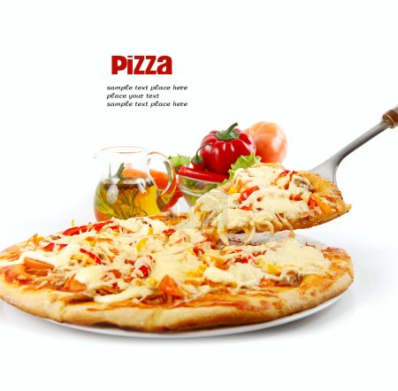 Photo for Supreme Pizza lifted slice with tuna and paprika isolated over white background - Royalty Free Image