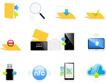 Data transfer and communication icon set