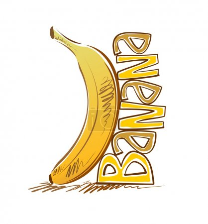 Illustration for The image of a banana with the inscription in the style of cartoons - Royalty Free Image