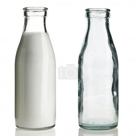Retro Glass milk bottle isolated on white...
