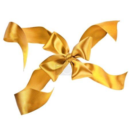 Golden holiday ribbon bow on white background