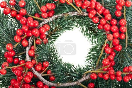 Photo pour Décoration de Noël avec des baies rouges naturelles isolées sur fond blanc - image libre de droit