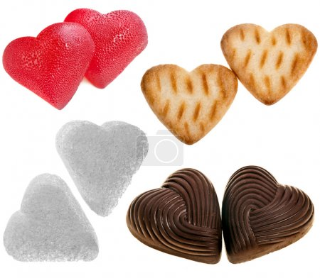 Photo for Collection sweety food of shape heart : sugar, chocolate candy , cookie , isolated on white background - Royalty Free Image