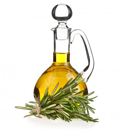 Photo for Decanter with rosemary oil isolated on white background - Royalty Free Image