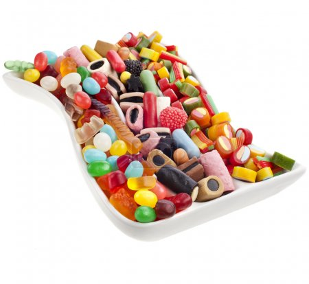 Colorful jelly candies over white